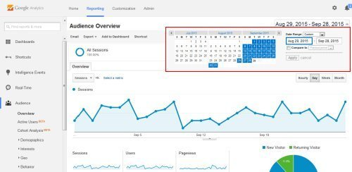 Selecting a date range in Google Analytics
