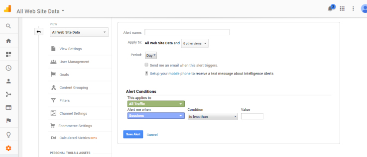 Creating a new Google Analytics Custom Alert