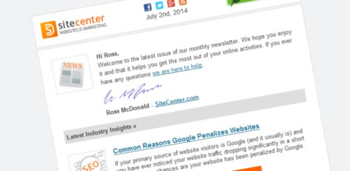 Example of personalized email newsletter