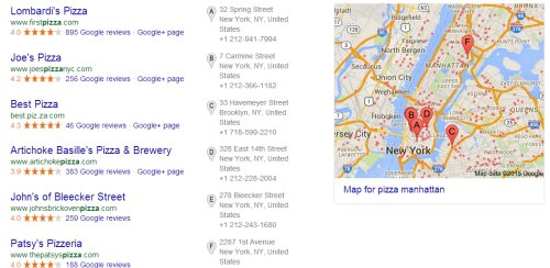 Example of local search results