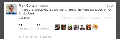 Matt Cutts Mentions Anglo Rank on Twitter