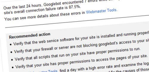 Google Webmaster Tools Downtime Message